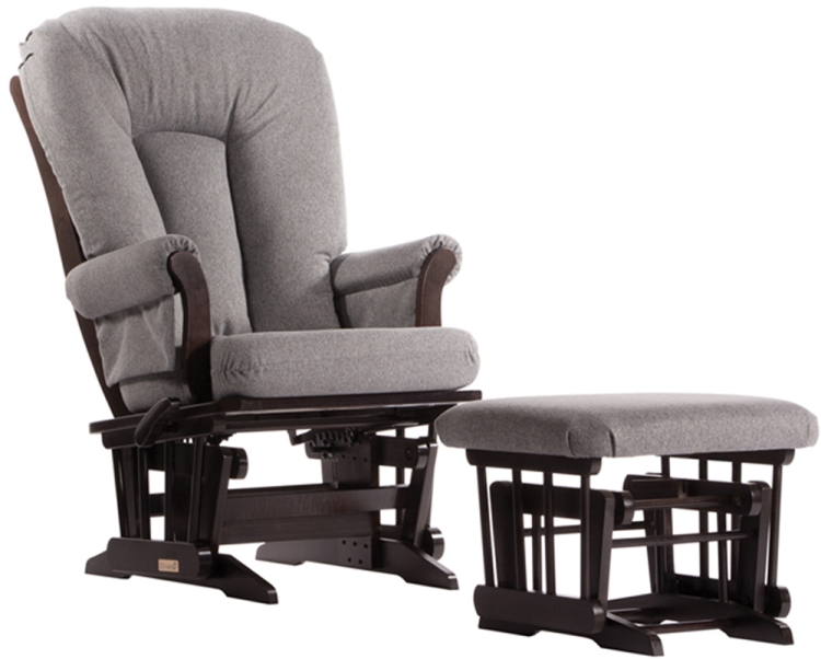 Dutailier Reclining Glider and Ottoman - Espresso Charcoal Pad