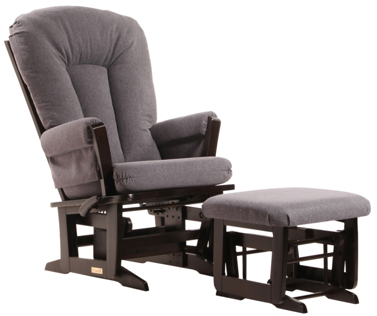 Dutailier Modern Recliner Glider and Ottoman - Espresso Charcoal