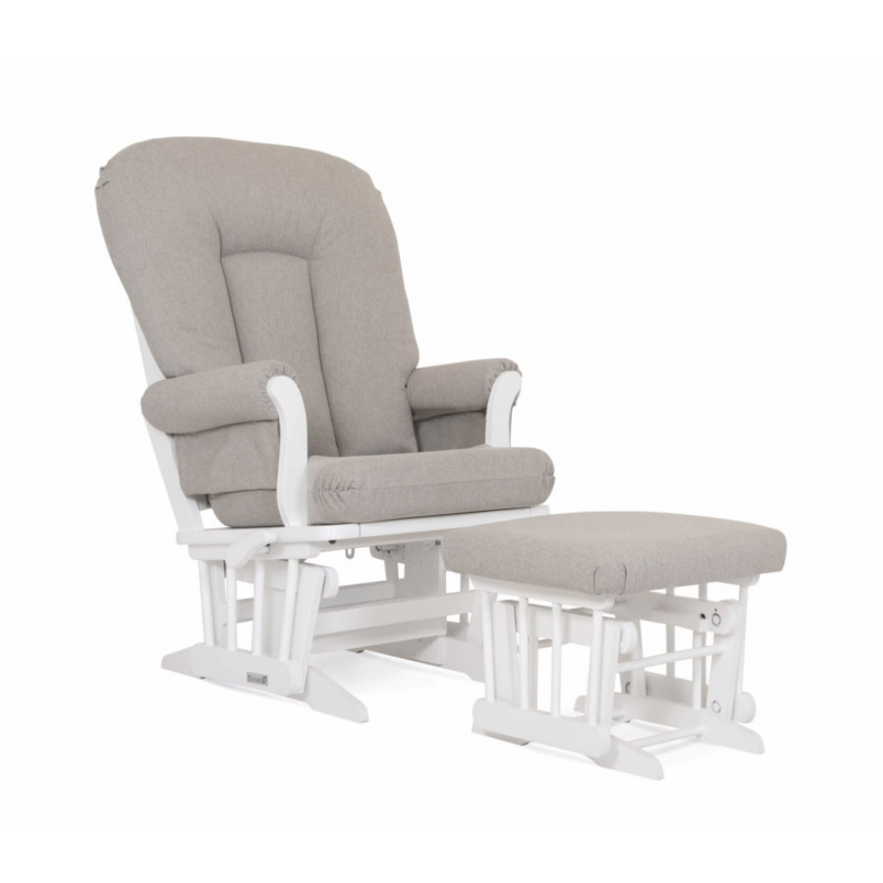 Dutailier Stock Sleigh Glider Ottoman Combo White with Grey