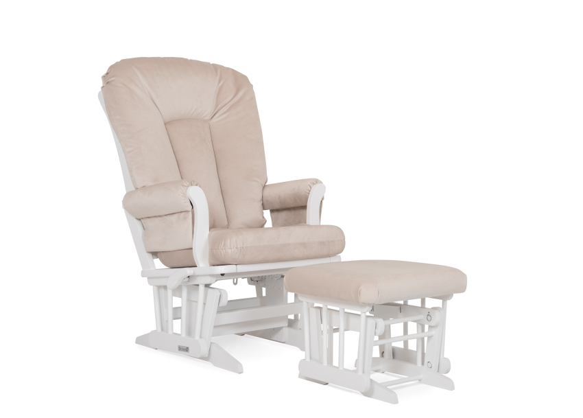 Dutailier Stock Chair and Ottoman 81B-220 - White and Beige