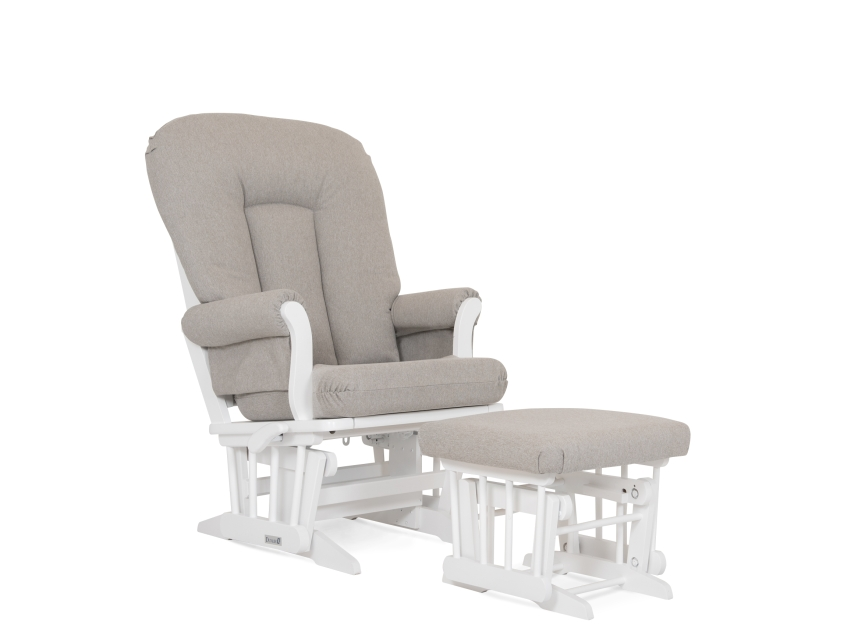 Dutailier Stock Chair and Ottoman 81B-220, White and Grey