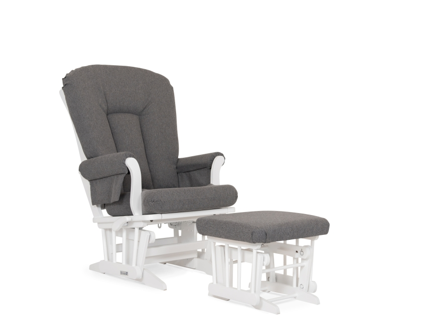 Dutailier Stock Chair Ottoman 81B-220, White with Charcoal