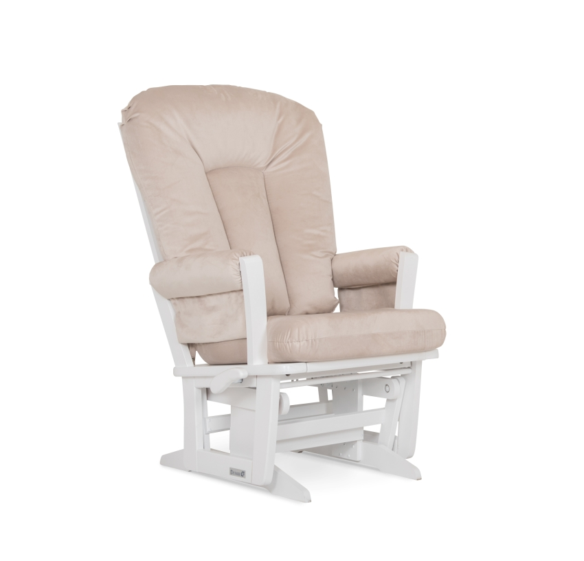Dutailier Stock Wooden Glider 81B-120, White and Beige