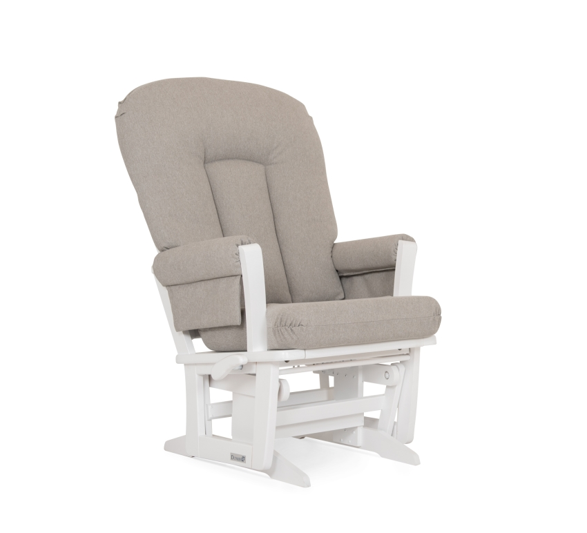 Dutailier Stock Wooden Glider 64B-100, White w/ Grey