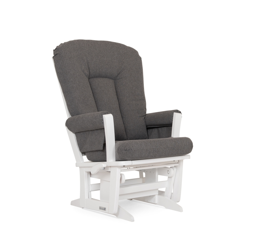 Dutailier Stock Wooden Glider 64B-100, White w/ Charcoal