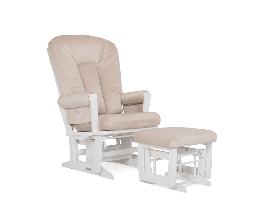 Dutailier Stock Wooden Glider, Ottoman 84B-220, White and Beige