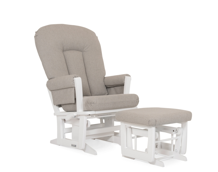 Dutailier Modern Wooden Glider, Ottoman, White with Grey Pad