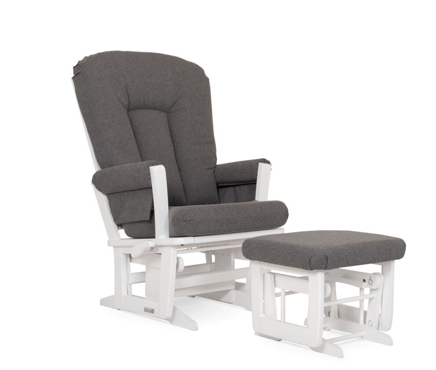 Dutailier Stock Wooden Glider, Ottoman 84B-220, White w Charcoal