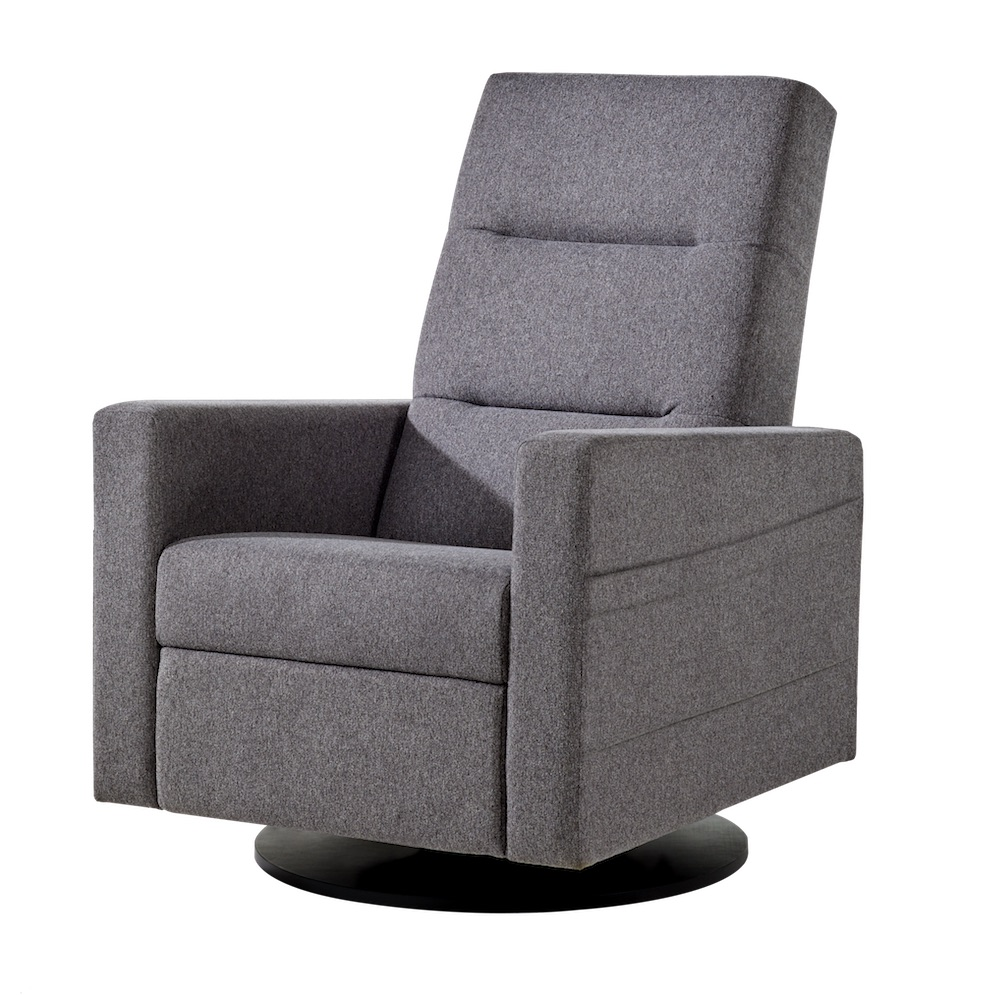 Dutailier Kallia Swivel Glider Recliner Chair in Charcoal