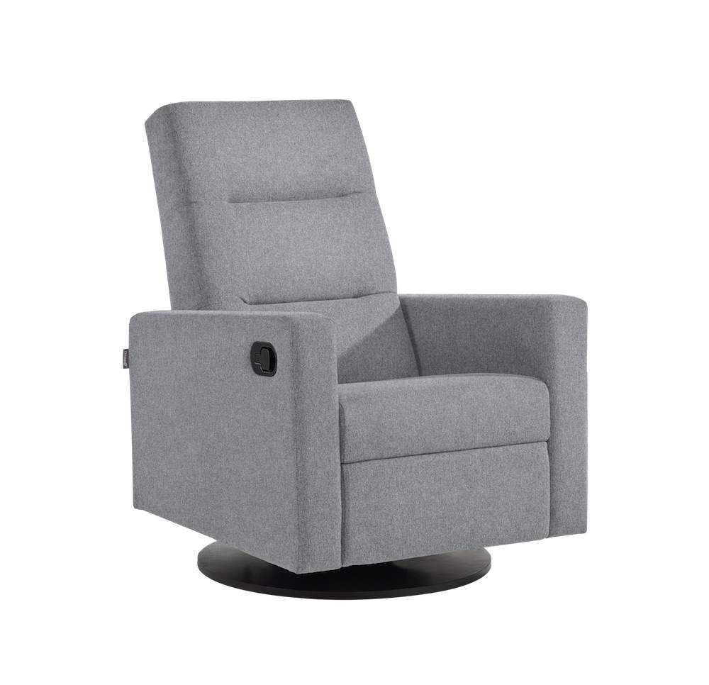 Dutailier Kallia Swivel Recliner Chair Light Grey