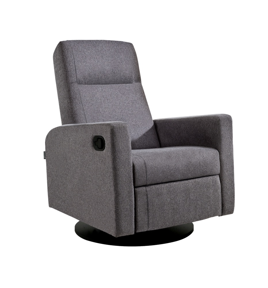 Dutailier Lula Swivel Recliner Chair in Perfect Grey