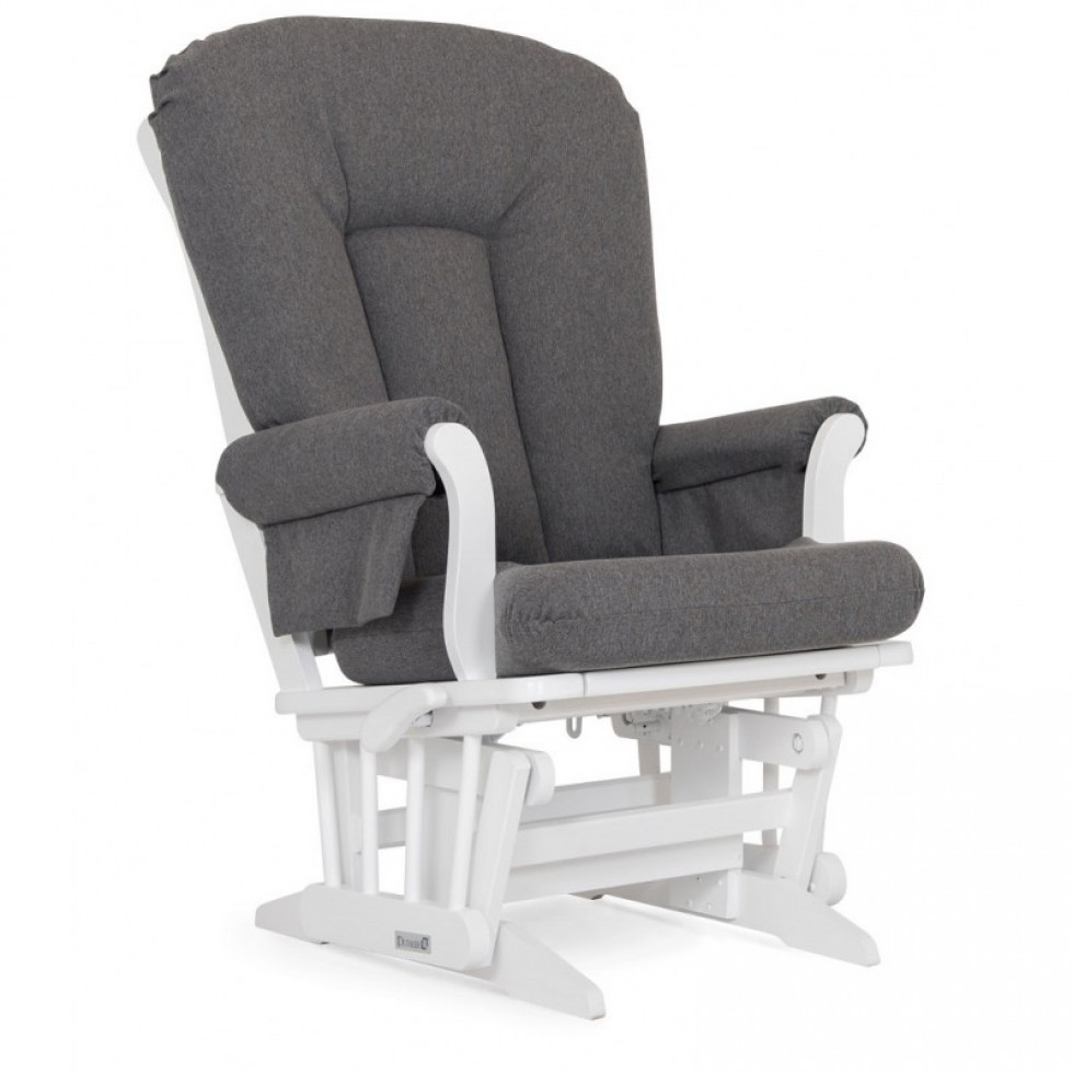 Dutailier Stock Sleigh Wooden Glider 61B-100 - White w/ Charcoal
