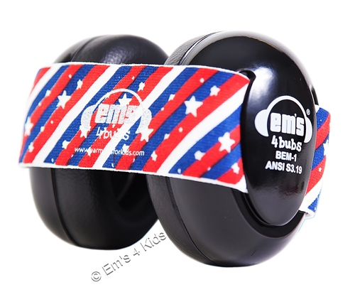 Em's 4 Kids Black Earmuffs for Baby, Stars and Stripes