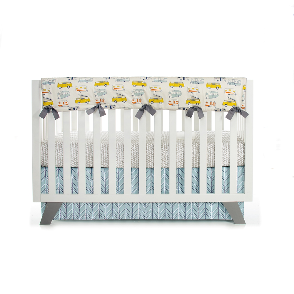 Glenna Jean Happy Camper Convertible Crib Rail Protector, Long