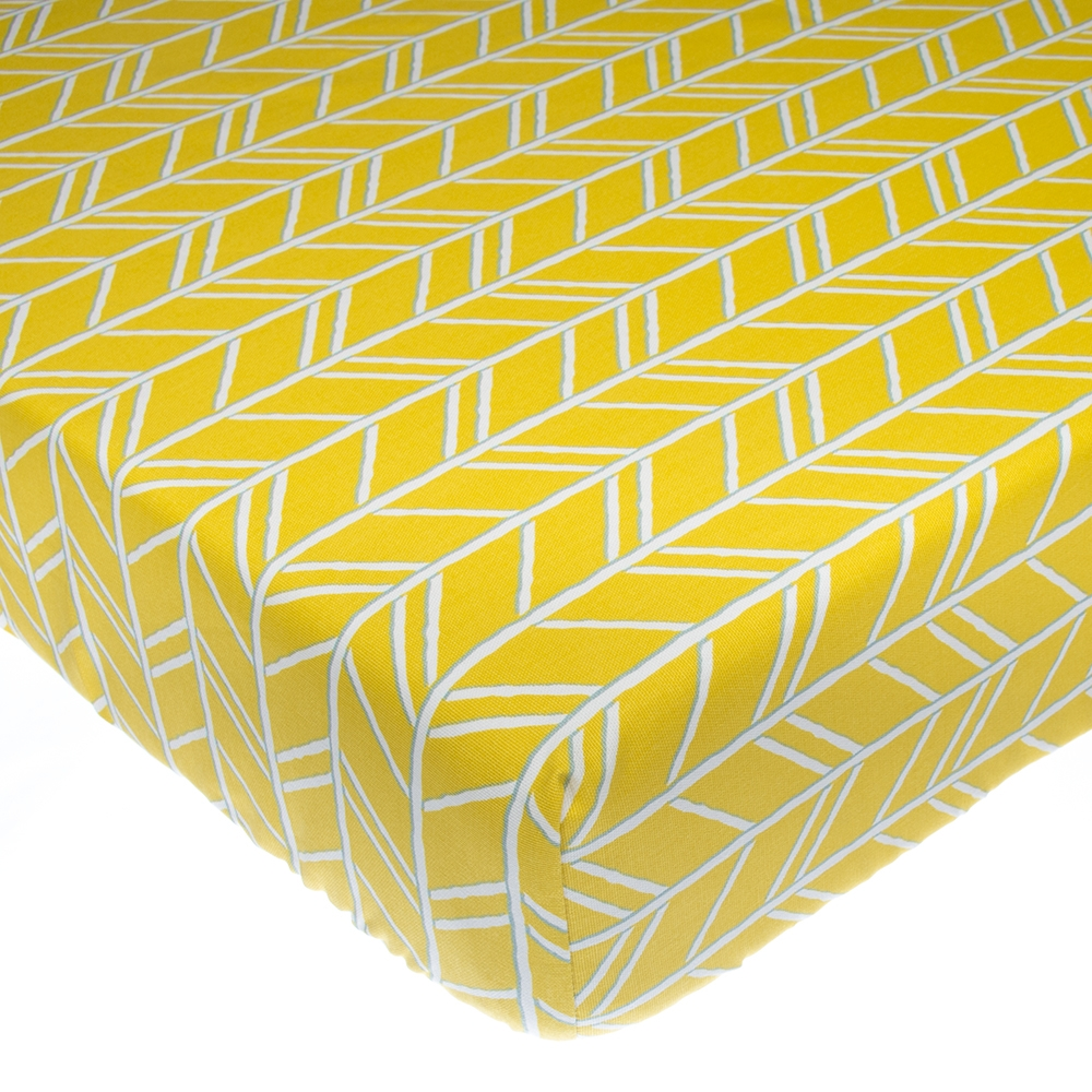 Glenna Jean Happy Camper Fitted Crib Sheet, Yellow Print