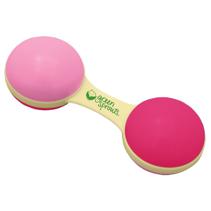 iPlay Green Sprouts Cornstarch Dumbbell Rattle in Pink