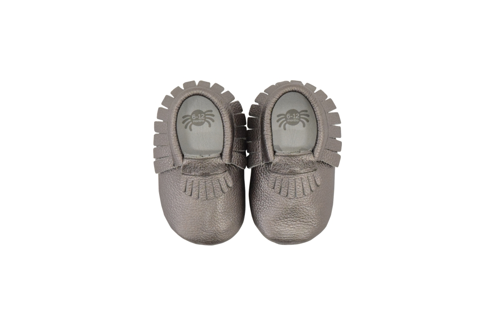 Itzy Ritzy Moc Happens Moccasins - Pewter - 6-12 Months