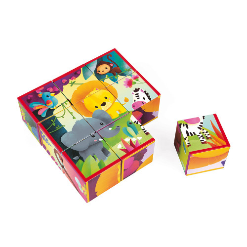Janod Toys Kubkid Blocks - Jungle Animals