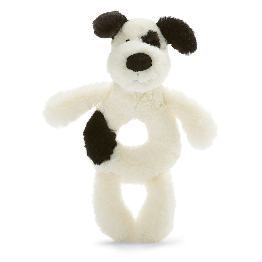 Jellycat Bashful Black and Cream Puppy Rattle