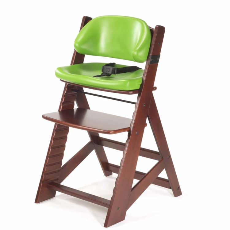 Keekaroo Height Right Kids Chair Mahogany with Lime Cushion