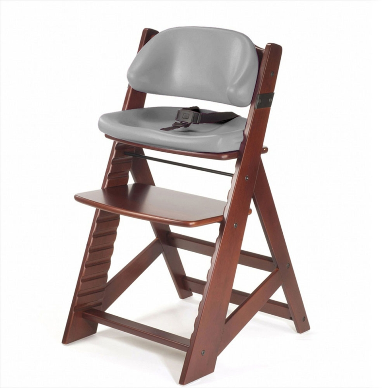 Keekaroo Height Right Kids Chair Mahogany with Grey Cushion