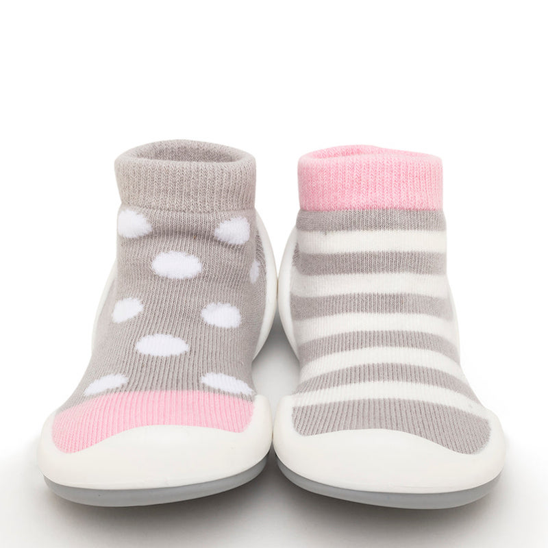 Komuello Baby Shoes in Dots & Stripes Pink
