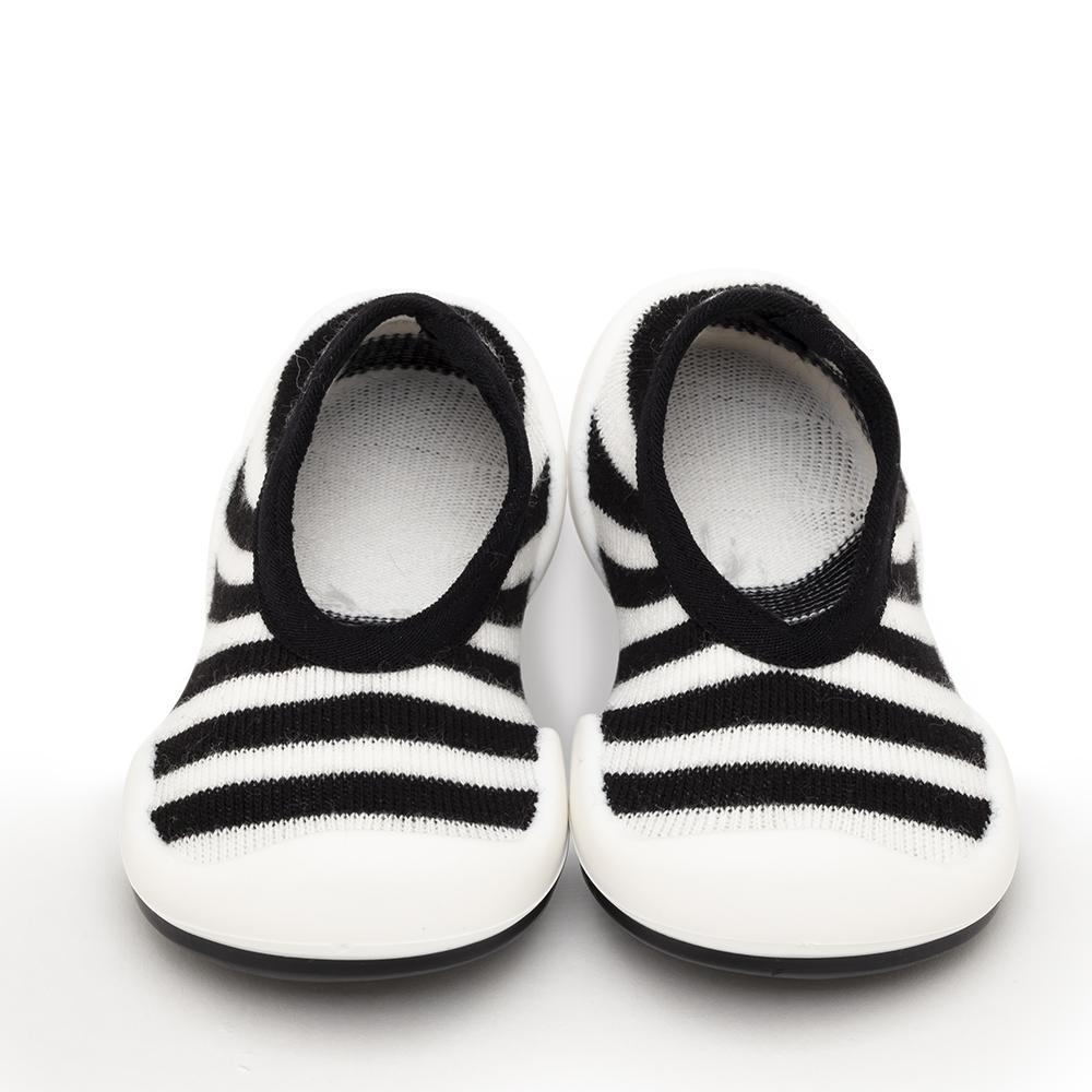 Komuello Baby Shoes Flat Black Stripe
