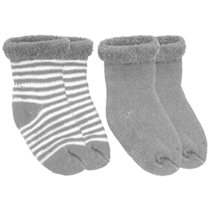 Kushies Terry Newborn Socks 2 Pack in Grey