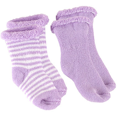 Kushies Terry Newborn Socks 2 Pack in Lilac