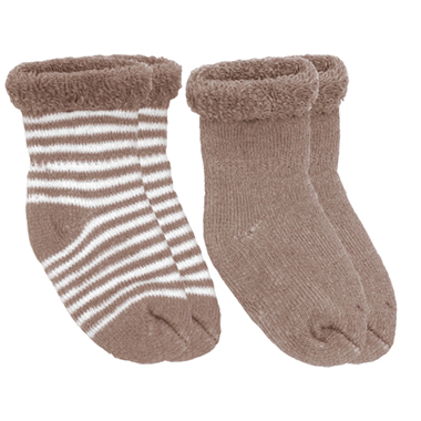 Kushies Terry Newborn Socks 2 Pack in Mocha