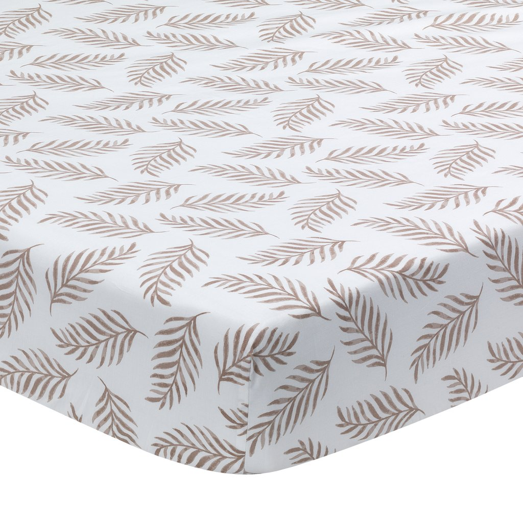 Lambs & Ivy Taupe Leaves Print Organic Cotton Fitted Crib
