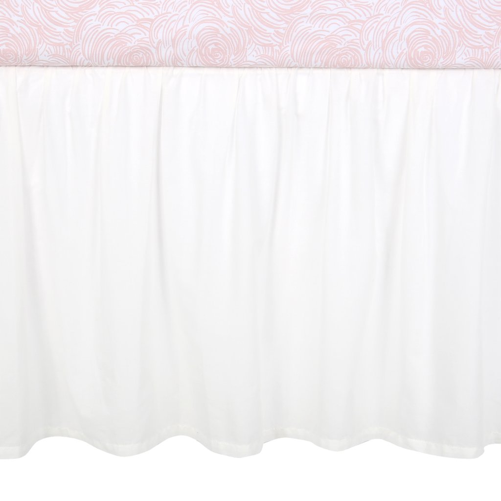 Lambs & Ivy Signature White Cotton Voile Ruffled Crib Skirt