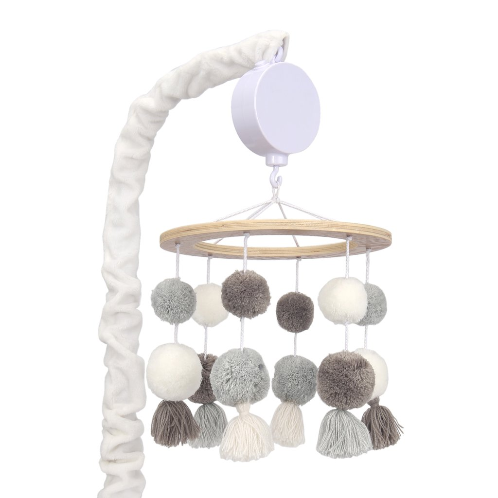 Lambs & Ivy Signature Pom Pom Musical Mobile - White/Gray