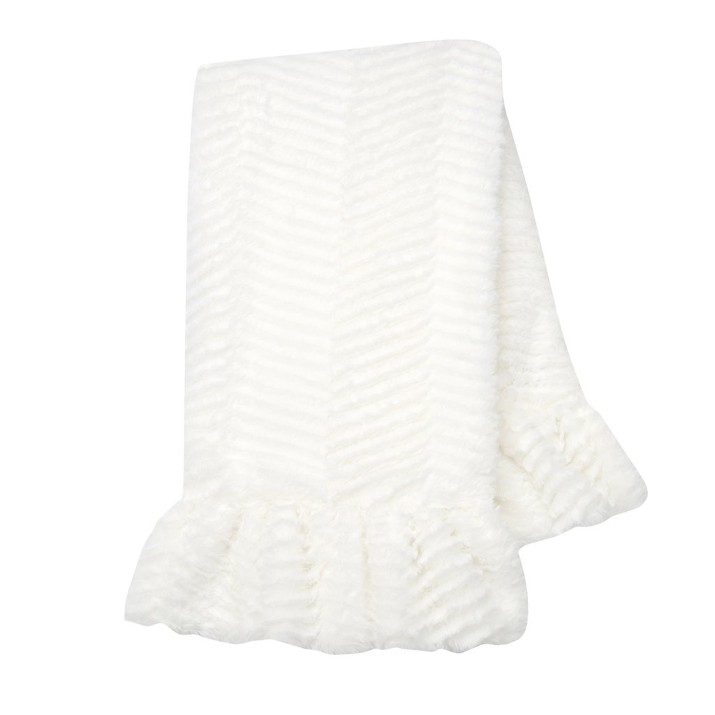 Lambs & Ivy Signature White Ruffled Lux Minky/Jersey Blanket