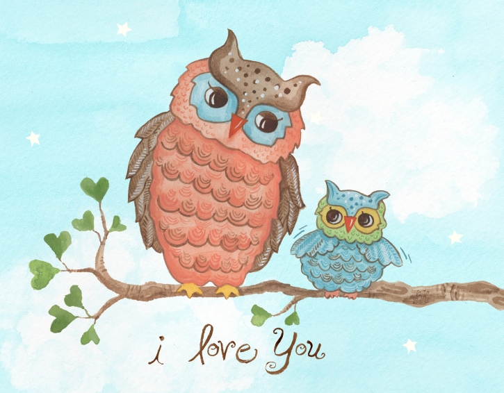 The Little Acorn - I Love You Baby Owl Wall Art
