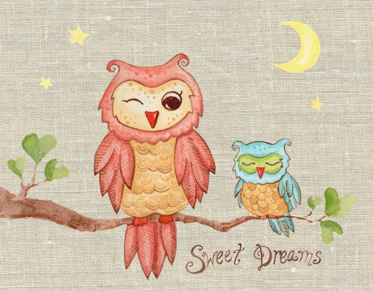 The Little Acorn Sweet Dreams Baby Owl Wall Art