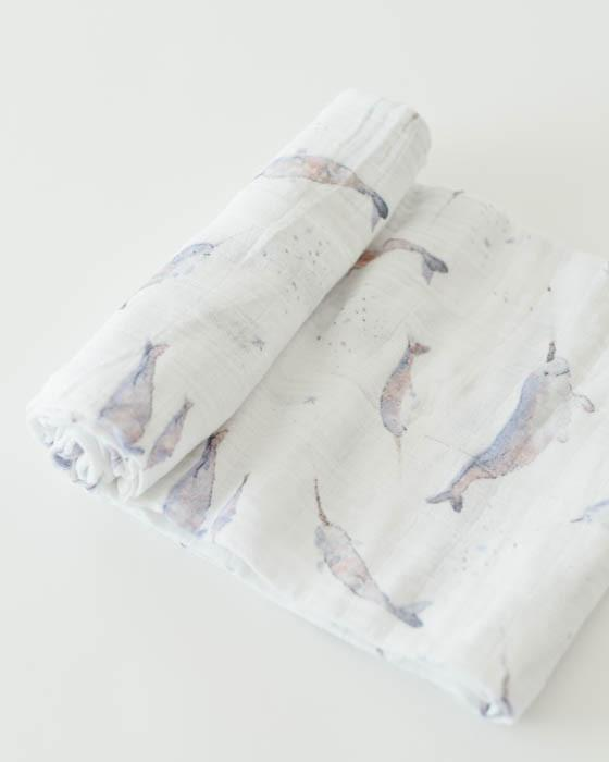 Little Unicorn Cotton Muslin Single Swaddle - Narwhal
