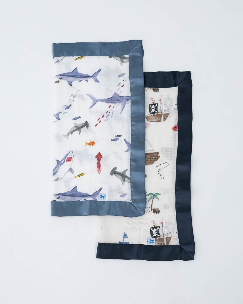 Little Unicorn Cotton Security Blankets High Sharks + Treasure