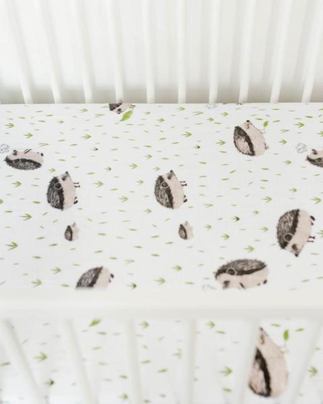 Little Unicorn Cotton Muslin Mini Crib Sheet - Hedgehog