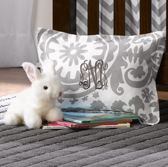 Liz and Roo Gray Suzani Baby Pillow Sham