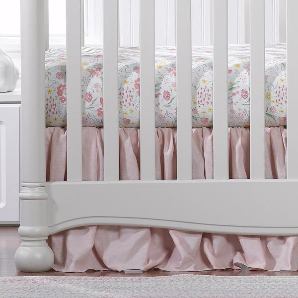 Liz & Roo Petal Pink Linen Crib Skirt with Ruffle