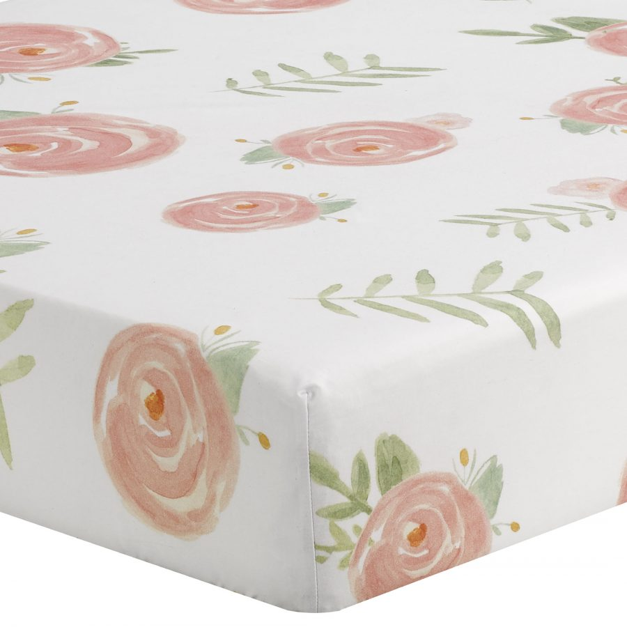 Liz and Roo Pink Peony Floral Crib Sheet
