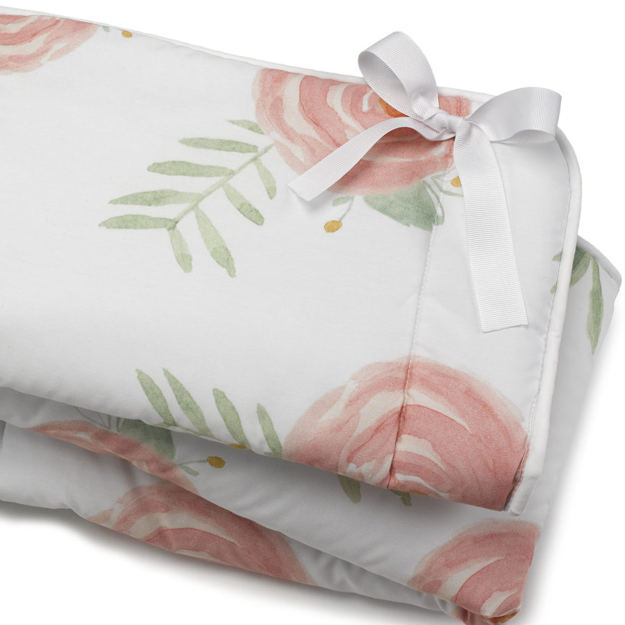 Liz and Roo Pink Peony Floral Rail Cover