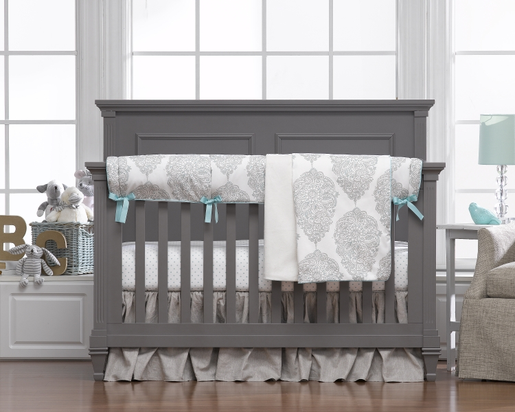 Liz & Roo Harper Taupe and Aqua Linen Bumperless Bedding Set