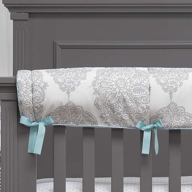 Liz and Roo Harper Aqua and Taupe Crib Rail Cover
