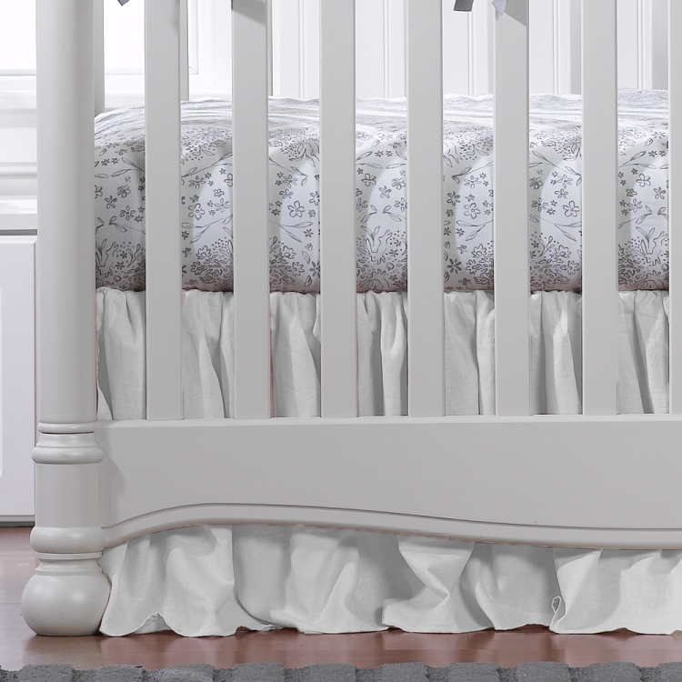 Liz & Roo White Woven Crib Skirt with Ruffle