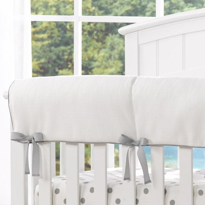 Liz and Roo White Woven Crib Rail Cover with Grey Trim