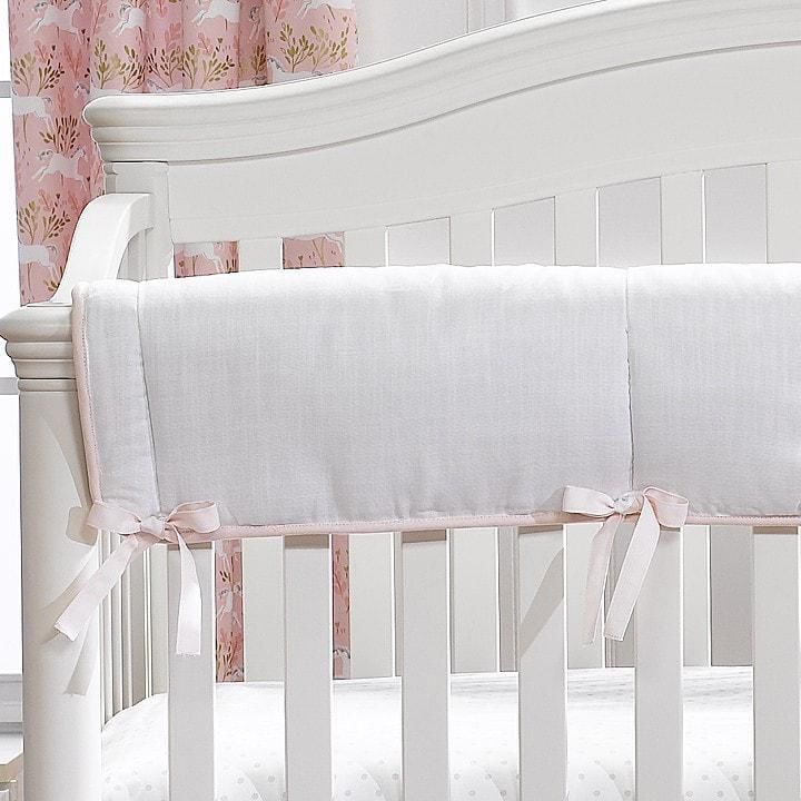 Liz and Roo White Woven Crib Rail Cover with Pink Trim