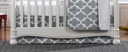 Liz & Roo Grey Trellis Crib Skirt