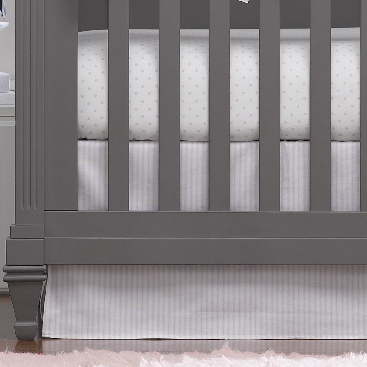 Liz & Roo Pink Ticking Stripe Crib Skirt